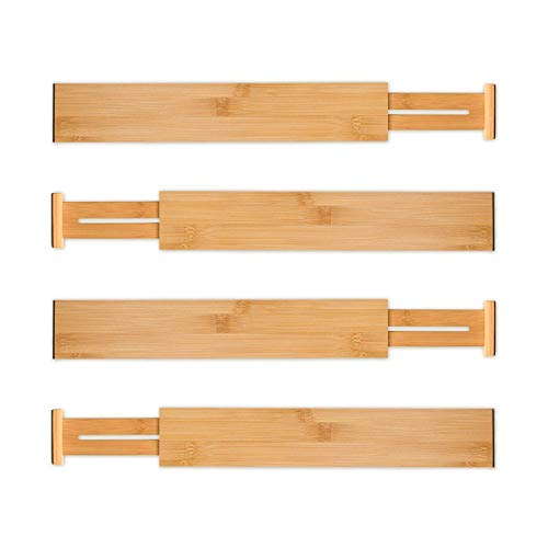 Utoplike 4 Pack Bamboo Kitchen Drawer Dividers(12-17.25IN),Adjustable Drawer Organizers,Spring Loaded,Works in Kitchen,Dresser,Bathroom,Bedroom,Baby -