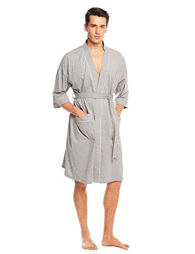 Adidome Mens Waffle Kimono Robes Spa Bathrobe Terry Cloth Robe, Gray, XX-Large