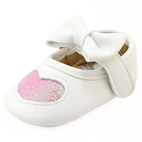 Z-T FUTURE Infant Baby Girls Shoes Cute Bow Diamonds Sparkly Mary Jane Crib Dress Princess Shoes (4.33 inch (0-6 Months), Heart-Pink)
