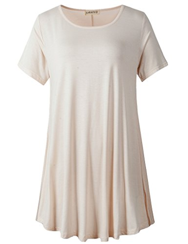 LARACE Women Short Sleeves Flare Tunic Tops for Leggings Flowy Shirt (3X, Beige)
