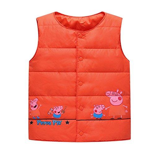 Lucao Baby Girls Vest Down Jackets Winter Toddler Boys Vests Cotton Coats Autumn Kids Outerwear Jacket For Children Orange-Height(130cm)