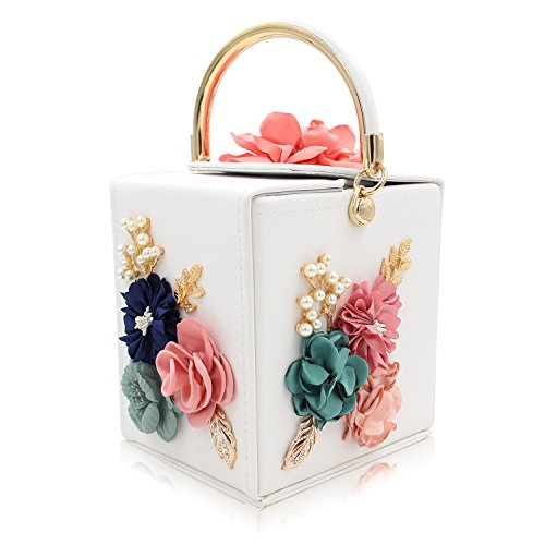 Milisente Women Clutches Flower Evening Bags Box Wedding Clutch Purse (White)