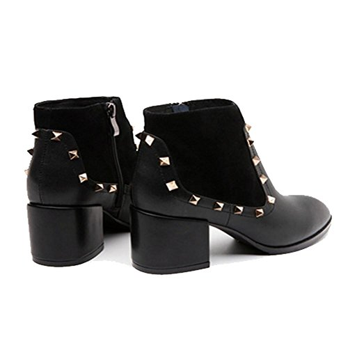 38 Women Rivet Heels Boots Warm Thick Zipper High Martin Short wdjjjnnnv Ankle Leather BLACK Side Shoes fqxZZw
