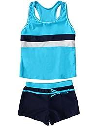 Little Girls' Summer Two Piece Boyshort Tankini Kids Swimsuit