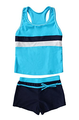 JerrisApparel Little Girls' Summer Two Piece Boyshort Tankini Kids Swimsuit (8-9/Tag Size 2XL, Blue)