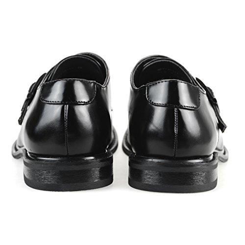 Mm / One Hombre Zapato Oxford De Monkstrap Repelente De Agua Puntera Lisa Medallón Slip-on Negro Marrón Marrón Oscuro Mpt110-11 Negro