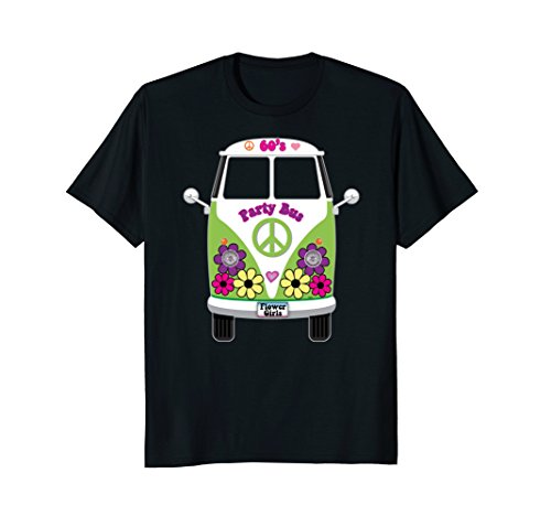 Retro-60s-Party-Bus-Hippie-Flower-Girls-Van-T-Shirt-Tee-Gift
