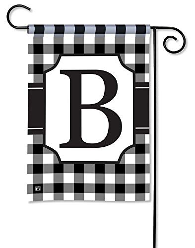 (BreezeArt Studio M Black & White Check Monogram B Decorative Garden Flag - Premium Quality, 12.5 x 18 Inches)