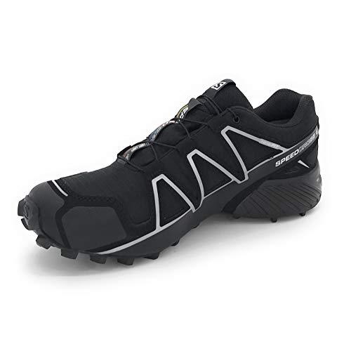 Salomon Men's Speedcross 4 GTX Trail Running Shoes, Black/Black/SILVER METALLIC-X, 10