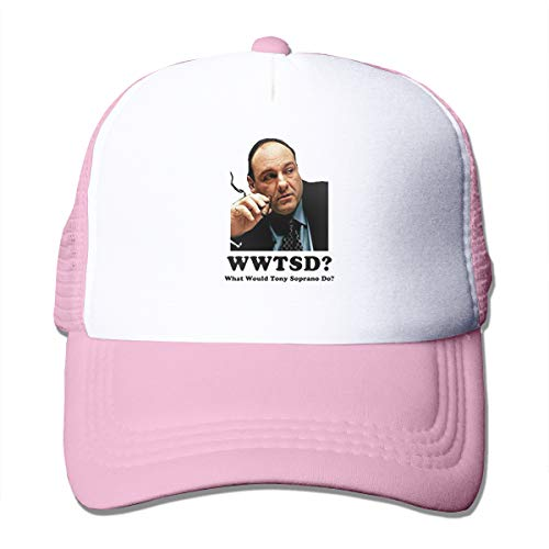 Custom Made Mesh - Grillianc Mesh Trucker Caps Tony Soprano Mafia Custom Made The Hat Pink with Baseball Hat Adjustable for Unisex