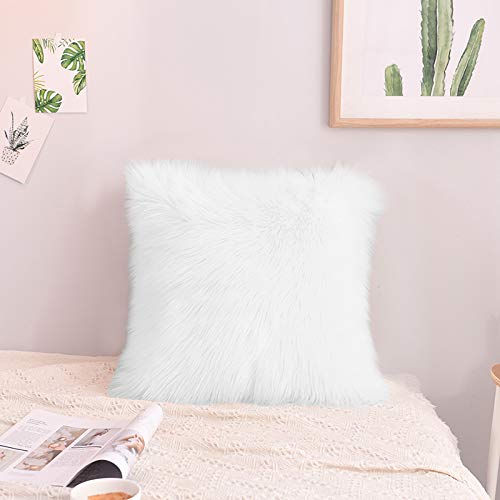 Faux Fur Pillow Case, Kmeivol Super Soft Shag Pillow Case 18 x 18 inch, Home Decorative Fur Pillows Case, Decorative Throw Pillows Case, Furry Pillows Decorative Throw Pillows for Bedroom (White Pillow Shag)