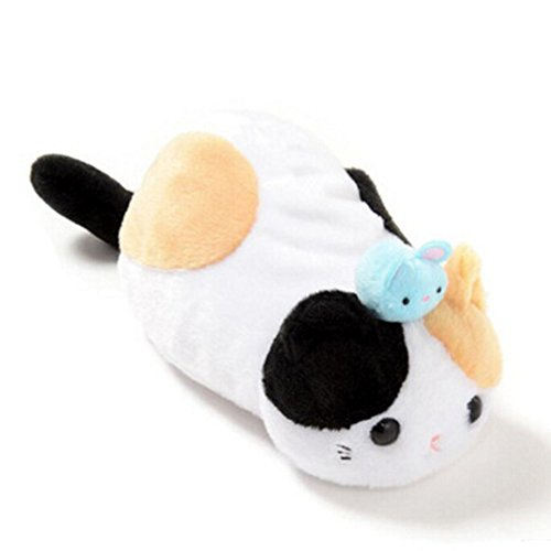 Qweryboo Cartoon Animal Japonisme Pussy cat Soft Plush Cosmetic Makeup Storage Pencil Pouch Stationery Case (Napping (Napping Plush)