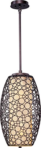 Pendant Meridian Outdoor (Maxim 21341DWUB Meridian 2-Light Pendant, Umber Bronze Finish, Dusty White Glass, MB Incandescent Incandescent Bulb , 100W Max., Dry Safety Rating, Standard Dimmable, Metal Shade Material, 1150 Rated Lumens)