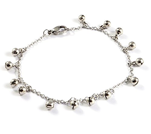 - ANBALA Fashion Jewelry Stainless Steel Plated Chain Anklets Ankle Bracelet with Metal Jingle Bells for Women Girls with Adjustable Lobster Clasp[Silver], Mother's Day Gift