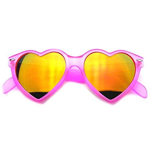 Emblem Eyewear® Super Cute Mirror Heart Shape Gradient Flash Revo Lens Sunglasses (Pink)