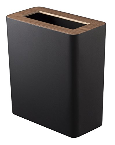 YAMAZAKI home Rin Slim Trash Can Black