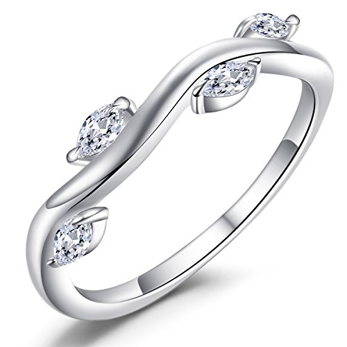 Caperci Sterling Silver Winding Willow Marquise Cubic Zirconia Anniversary Wedding Band Ring for Women Size 7