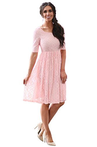 Mikarose Emmy Modest Dress in Sweetheart Pink Lace, Modest Bridesmaid Dress or Semi-Formal Dress - S