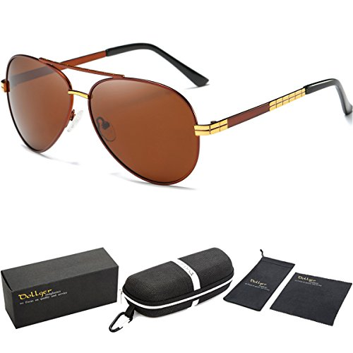 Dollger Aviator Polarized Driving Sunglasses For Men Unbreakable (Brown Lens+Gold - Designer Small Sunglasses Best For Faces