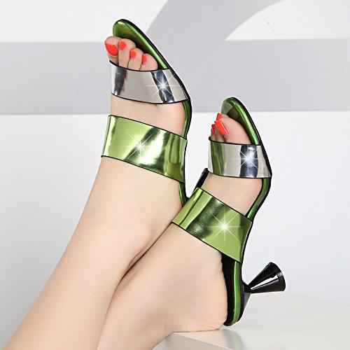 AWXJX Frauen Flip Flops High Heel Schnalle Dick mit Atmungsaktiv Grün Ein 7 US 37.5 EU 4.5 UK