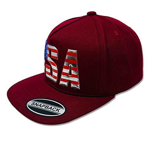 GREAT CAP USA Snapback - Classic US Design 3D Embossed Logo Baseball Cap Size Adjustable Fahsionable Daily Outdoor Hat - Embossed USA - Burgundy