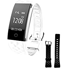 Smart Bracelet Fitness Activity Tracker Waterproof Pedometer with Heart Rate Sleep Monitor Cycling etc fitness WristBand Watch for Android IOS Phones(Give an extra band)