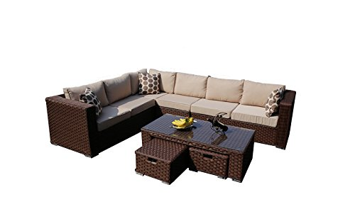 yakoe papaver 8 seater modular rattan garden furniture corner sofa lounge set brown - Garden Furniture 8 Seater