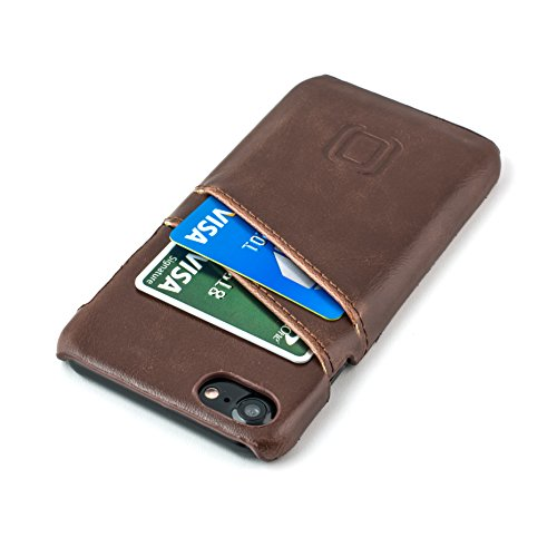 Dockem Wallet Case for iPhone 8 and iPhone 7 - Minimalist Vintage Synthetic Leather Card Case, Ultra Slim Professional Executive Snap On Cover with 2 Card Holder Slots [Brown]