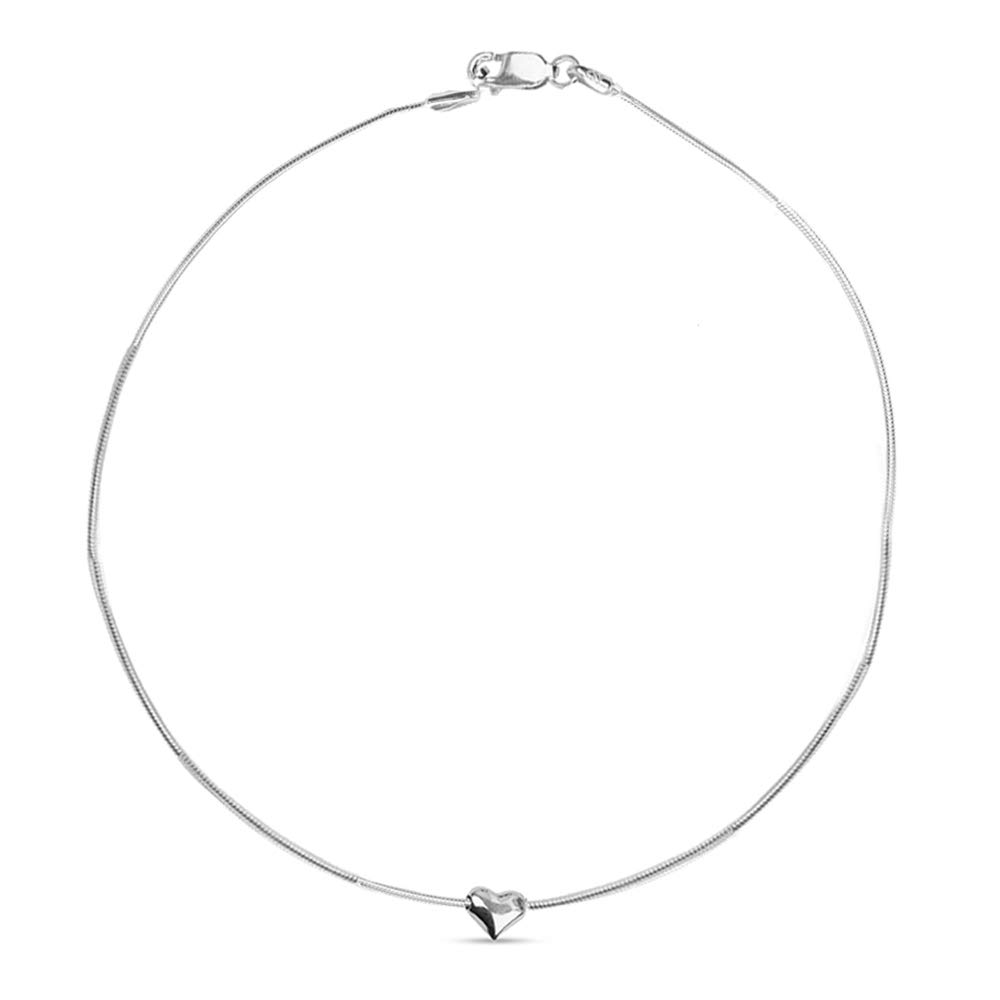 LeCalla Sterling Silver Jewelry Snake Chain Heart Charm Anklet for Women