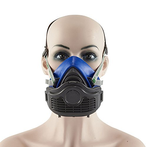 Mufly Respirator Dust Mask KN90 PM2.5 Half Facepiece Reusable Respirator Paint Breathing Mask Gas Protection Filter(Blue)