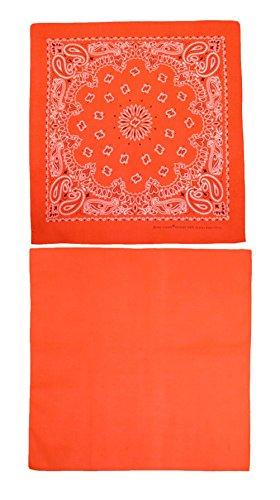 CTM Cotton Solid and Paisley Print Neon Bandana Kit (Pack of 2), Neon Orange