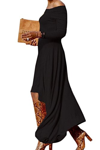 Stylish Comfy Long Women's Sleeve Black Club Strapless Sexy Dress Unbalanced Long wwA8q4xr