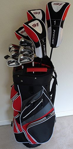 - Mens Golf Set Complete Driver, 3 & 5 Fairway Woods, Hybrid, Irons, Putter Sand Wedge & Deluxe Cart Bag Stiff