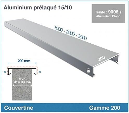 POUR MURET GAMME 320 XL COUVERTINE//COUVRE-MUR ACROTERE OU TOIT TERRASSE longueur 2000 mm, RAL 7016 SATINE GRIS ANTHRACITE