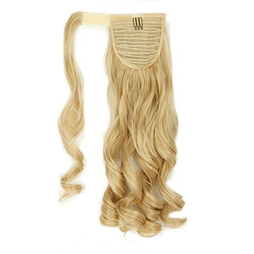 Wrap Around Synthetic Ponytail Clip in Hair Extensions One Piece Magic Paste Pony Tail Long Curly Wavy Soft Silky for Women Fashion and Beauty 17'' / 17 inch (dark blonde mix bleach blonde)