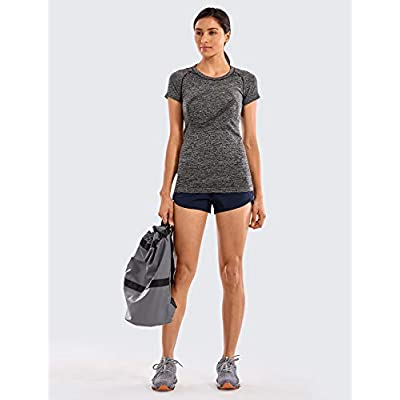 CRZ YOGA Seamless Workout Shirts for Women Short Sleeve Plain T-Shirts Dry Fit Athletic Tops: Clothing
