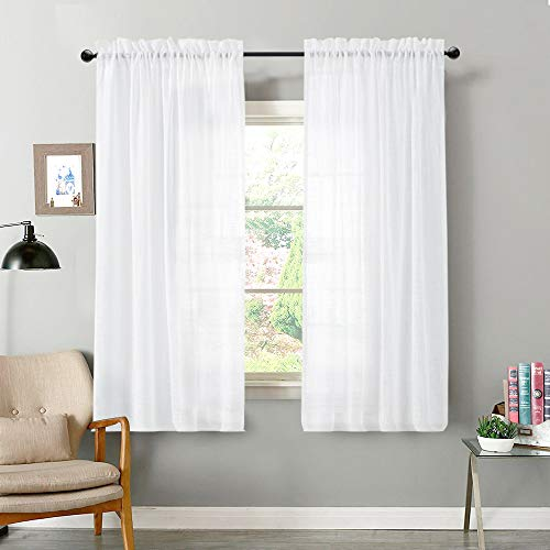 - Sheer White Curtains for Living Room 2 Panels Semi Linen Textured Curtain Sheers 63 inch Length for Bedroom Light Filtering Voile White Panels Rod Pocket