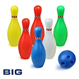 yoptote Bowling Set Outdoor Games Plastic Bowling Ball Set Educational Party Favors Toys 7 Piece Big Size for Kids Boys Girls 3 4 5 Years Old, Indoor Outdoor Toys