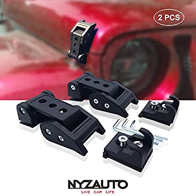 NYZAUTO Black Textured Aluminum-Alloy Hood Latch kit for Jeep Wrangler JK JKU, Hood Locking Catch kit Compatible with 2007-2020 Jeep Wrangler JK JKU: Automotive