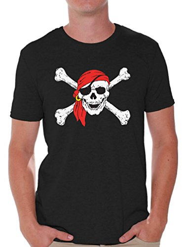Awkward Styles Men's Jolly Roger Skull & Crossbones T Shirts Tops Pirate Flag T Shirts Tops Black S