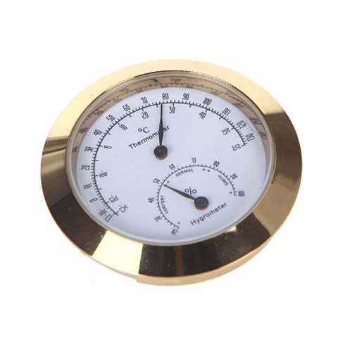 Golden Round Thermometer and Hygrometer for Guitar Violin Case