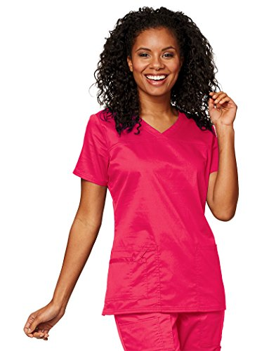 - Core Stretch by Cherokee Workwear Women's V-Neck Solid Scrub Top X-Small Dragon Fruit