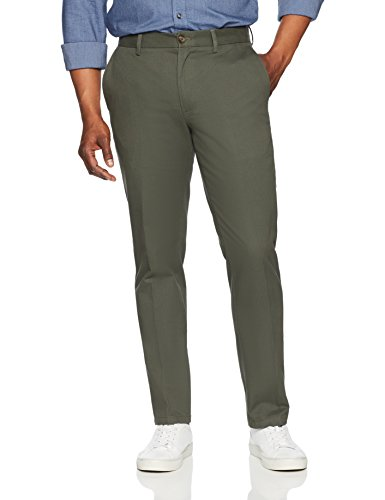 Amazon Essentials Men's Slim-Fit Wrinkle-Resistant Flat-Front Chino Pant, Olive, 33W x 30L
