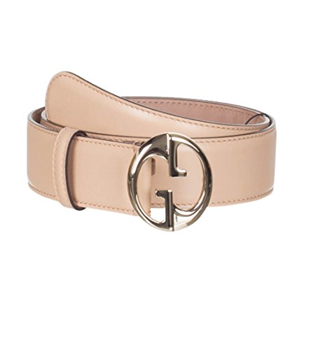 Gucci Women's Beige Leather Interlocking GG Buckle Belt, 32, Beige by Gucci