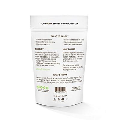 Herbavana Exfoliating Body Scrub - Coconut Hemp Coffee Scrub with Dead Sea Salt - Cellulite Remover, Body Exfoliator, Organic Body Wash - Body Scrub for Women and Men - 225 grams