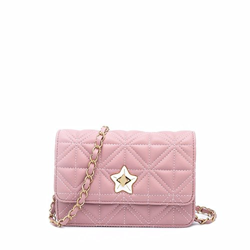 2018 nuovo rhombus satchel, moda personalità porta catena borsa,argenteo Rosa