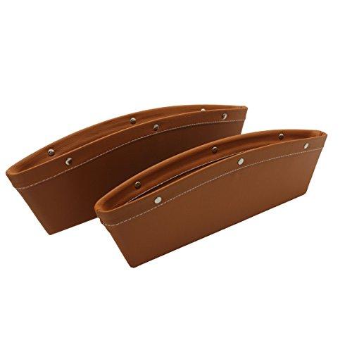 ALACHI USA White Car Seat Gap Filler,Side Drop Caddy Catcher Gap Filler Stop Premium Console Slit Pocket Organizer Interior Accessories Between The Seats 2pack