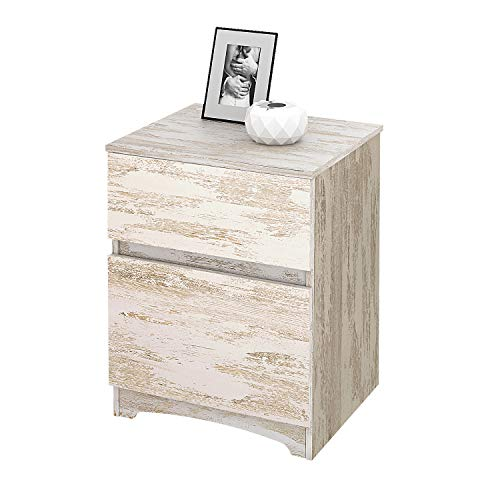 WLIVE 2 Drawer Wood Nightstand, Side Table, End Table for Living Rome and Bedroom - Wood Nightstand Drawer