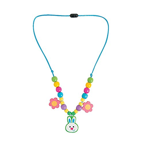 Fun Express - Easter Bunny Necklace ck for Easter - Craft Kits - Kids Jewelry Craft Kits - Kids Necklace - Easter - 12 Pieces
