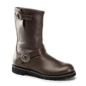 Summitfashions Brown Leather Mens Boots Motorcycle Boots Steampunk Hardware
